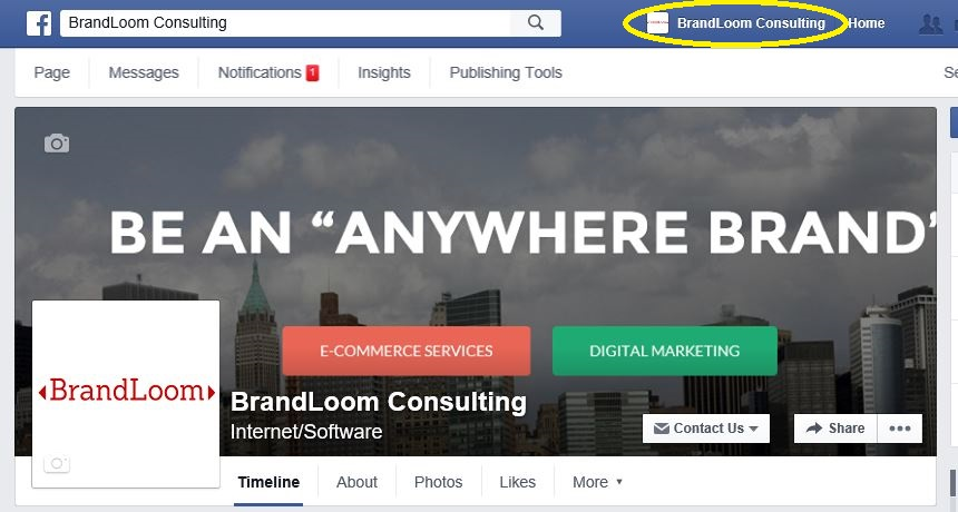 FaceBook Page View After you Login as the Page Itself to take advantage of Online Marketing on Social Media