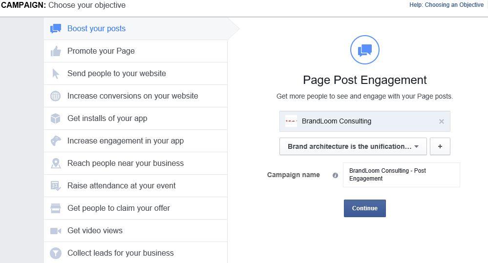 Enter Objective Details on Facebook Ad Structure